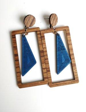 Ohrringe Hänger Statement Holz Vintage Geometrisch Rechtecke Triangle