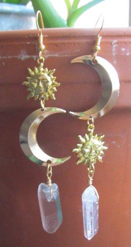Handmade Wiszące kolczyki biały-złoto