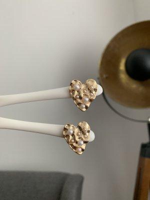 Ohrringe Herz neu ungetragen gold Perlen Stecker