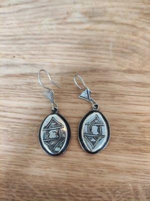 Boucles d'oreilles en argent argenté-brun foncé