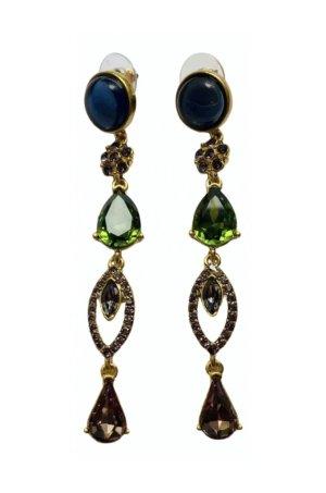 Oscar de la renta Boucle d'oreille incrustée de pierres multicolore métal