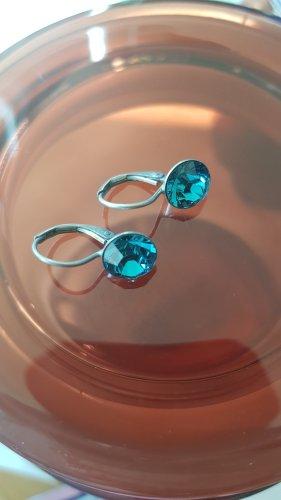 Boucles d'oreilles en argent argenté-bleu clair