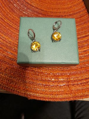 Orecchino a pendente argento-giallo-oro