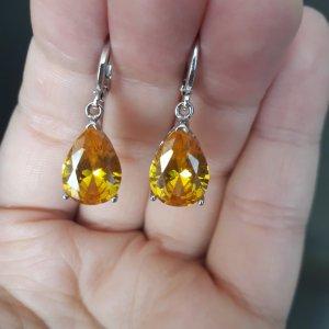 Dangle silver-colored-gold orange