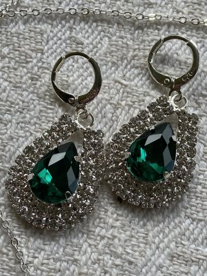 Statement Earrings silver-colored-green