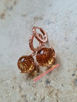 Ohrringe mit honigfarbenen Zirkonia rosè vergoldet