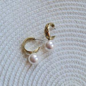 Vintage Boucles d'oreilles en perles blanc-doré