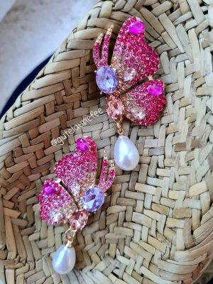 Ohrringe mit Kunstperlen * rosa Schmetterlinge