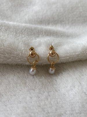 Kolczyk z perłą biały-złoto