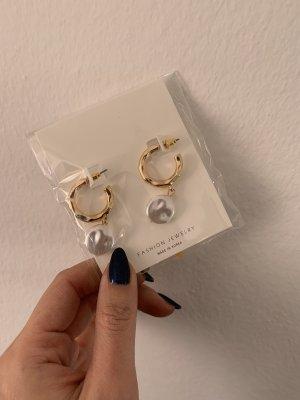 Orecchino di perle oro-bianco