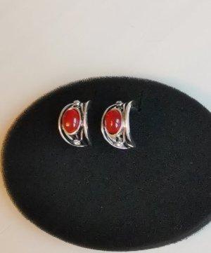 Orecchino a cerchio rosso scuro-argento