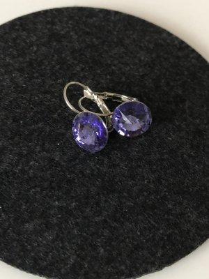 Ohrringe mit Swarovski Steinen Dangle dark violet-blue violet