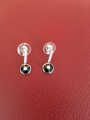 Boucle d'oreille incrustée de pierres argenté-noir