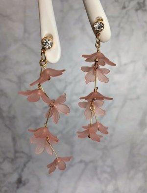 Ohrringe neu rosa pink Blumen Hänger Stecker Sommer Statement