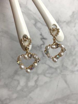 Ohrringe neu ungetragen gold Kunst- Perlen Strass Herz Hearts