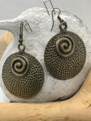 Ohrringe Ohrhänger antik messingfarben rund Spirale 6x3,8 cm nickelfrei