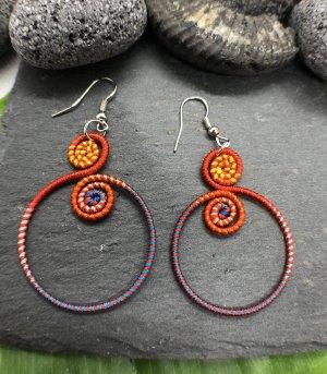 Ohrringe Ohrhänger Baumwolle Ethno Boho 2 kleine Spiralen großer Rong 4,3cm orange