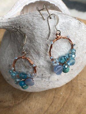 Ohrringe Ohrhänger blau türkis rund Perlen 4,5x2,3 cm