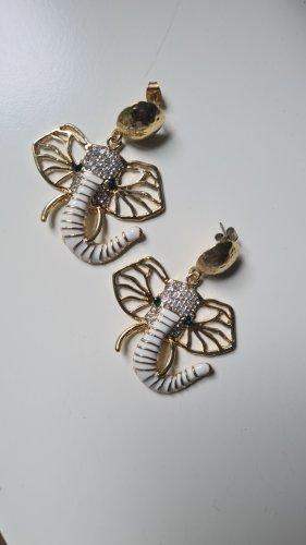 Ohrringe Ohrhänger Elefant Gold Statement Weiß Grün