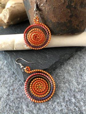 Ohrringe Ohrhänger Ethno große Spirale orange bunt 5x2,7cm Baumwolle