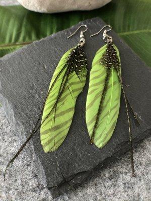 Handmade Pendientes colgante negro-verde pradera