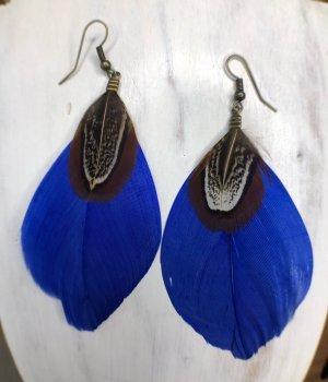 Ohrringe Ohrhänger Feder inkblau 9x4 cm Fischhaken antik messingfarben