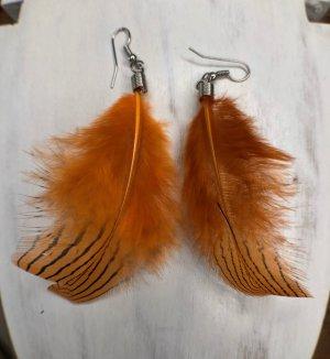 Ohrringe Ohrhänger Feder orange gestreift 9x4 cm Fischhaken silberfarben