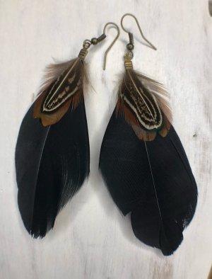 Ohrringe Ohrhänger Feder schwarz 9x4 cm Fischhaken antik messingfarben