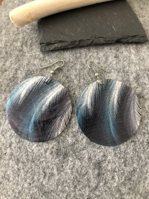 Ohrringe Ohrhänger Feder schwarz blau weiß 7x5 cm