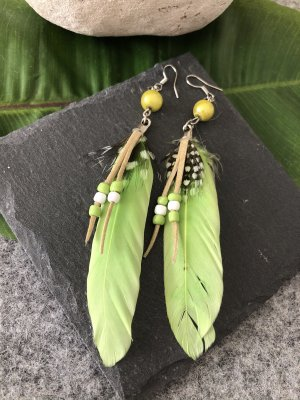 Handmade Pendientes colgante verde pradera-color plata
