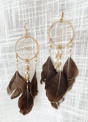 Pendientes colgante color oro-marrón grisáceo