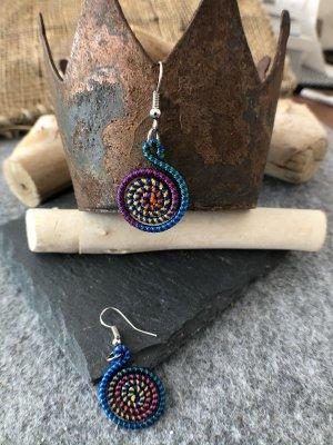 Ohrringe Ohrhänger Fischaken Silber925 Baumwolle blaugrüngelb 4,6x1,9 cm kleine Spirale