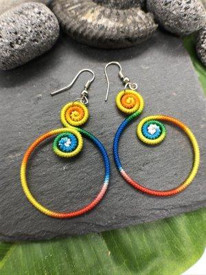 Ohrringe Ohrhänger Fischaken Silber925 Baumwolle Regenbogenfarben 2 kleine Siralen 1 großer Ring 4,3 cm