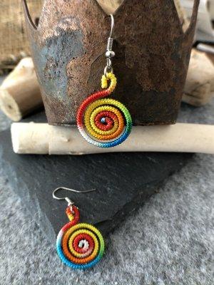 Ohrringe Ohrhänger Fischaken Silber925 Baumwolle Regenbogenfarben 4,6x1,9cm kleine Spirale
