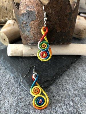 Ohrringe Ohrhänger Fischaken Silber925 Baumwolle Regenbogenfarben 5,5x1,4cm Doppelspirale