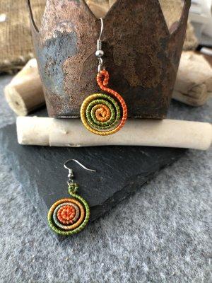 Ohrringe Ohrhänger Fischaken Silber925 Baumwolle rotgrüngelb 4,6x1,9cm kleine Spirale