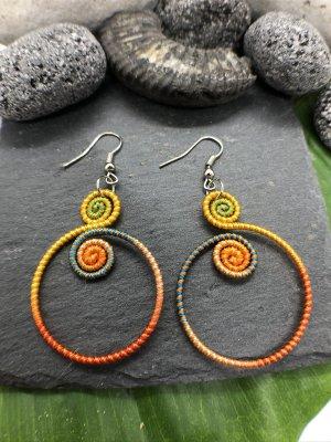 Ohrringe Ohrhänger Fischaken Silber925 gelborange Baumwolle 2 kleine Spiralen 1 großer Ring Ethno
