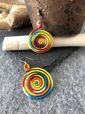 Ohrringe Ohrhänger Fischhaken Silber925 Spirale Regenbogenfarben Baumwolle 5x2,7cm Ethno