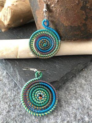 Ohrringe Ohrhänger Fischhaken Silber925 Türkis grün Mix Baumwolle Spirale 5x2,7 cm Ethno Design