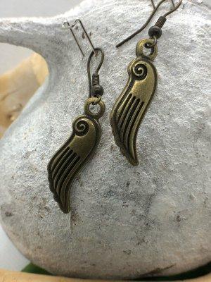 Ohrringe Ohrhänger Flügel Spirale 4,5x0,9 cm antik messingfarben nickelfrei