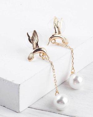 Ohrringe Ohrhänger goldfarben Kolibri Vögelchen mit Kunstperlen