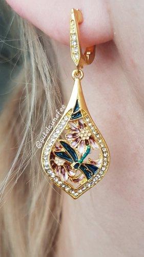 Ohrringe Ohrhänger goldfarben mit Zirkonia Strass Blume Schmetterling emailliert Boho Vintage