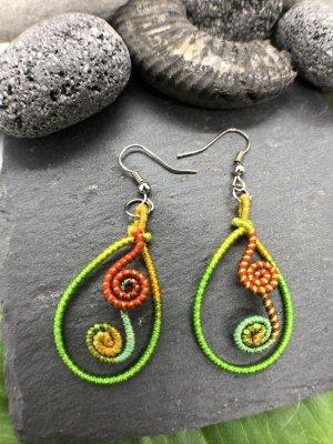 Ohrringe Ohrhänger grün oval + 2 Spiralen 4/6,1 cm