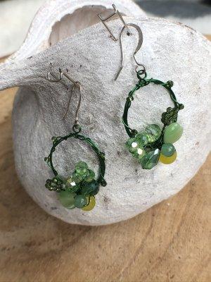 Ohrringe Ohrhänger grün Perlen 4,5x2,3 cm