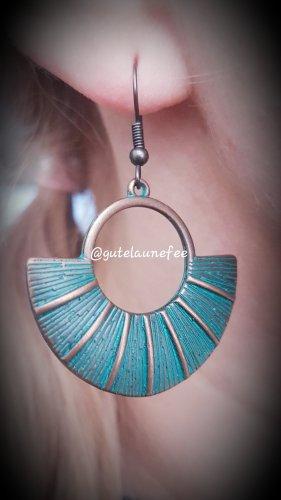 Ohrringe Ohrhänger gtüne patina kupferfarben Boho Kleopatra Fächer