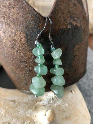 Handmade Pendientes colgante verde claro-color plata