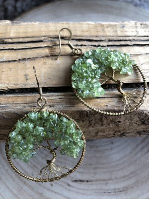 Handmade Pendant d'oreille vert clair