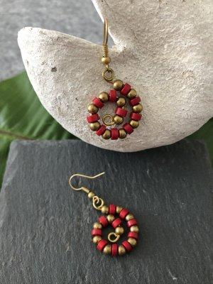Handmade Pendant d'oreille bronze-rouge brique