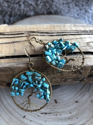Handmade Pendant d'oreille turquoise-bronze