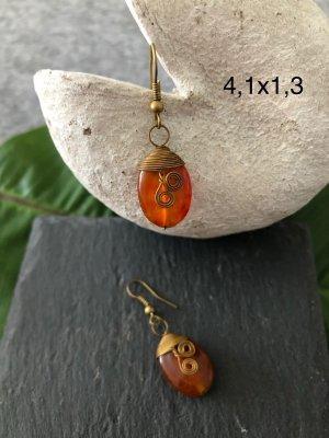 Handmade Pendant d'oreille bronze-orange foncé